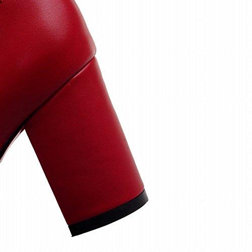 Mee Shoes Damen chunky heels Reißverschluss spitz Ankle Boots Rot