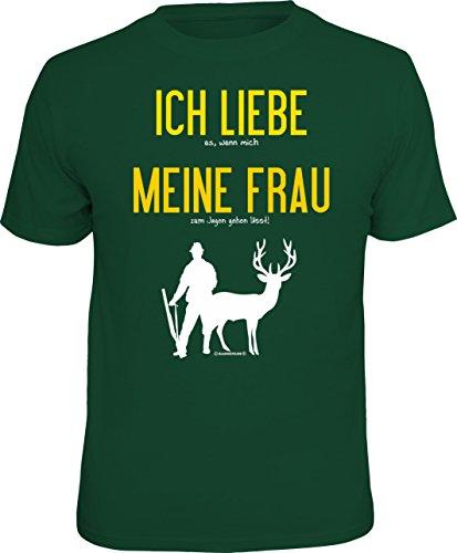 RAHMENLOS Original T-Shirt für den Jäger: Ich Liebe es, wenn Mich Meine Frau..., Grün, XL