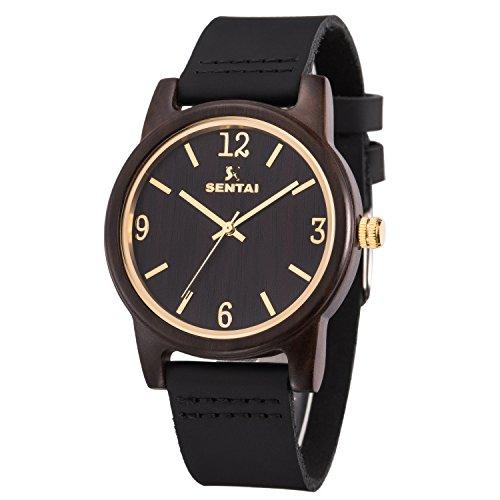 �rliche Holz Armbanduhr Schwarze Sandale echtes Lederband Quarzuhr handgefertigt für Frauen und Männer Vintage Uhr mit einem großen klaren Gesicht und klaren Zahlen Schwarz ()