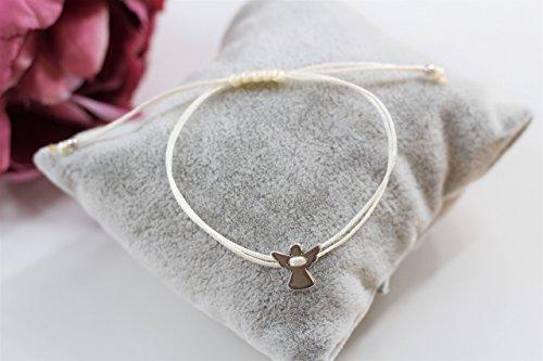 Schutzengel Kommunionsarmband mit Engel in silber farben Makrameearmband Macrame Armband Kommunion Kind Konfirmation Firmung verschiedene Farben
