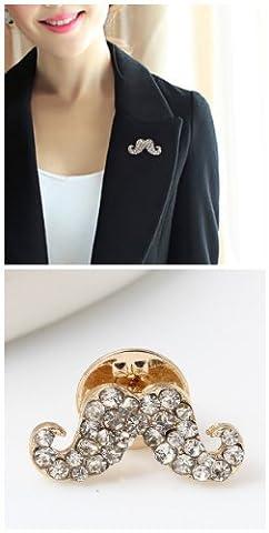 Lot de 10 Pochette Motif moustache de cristal Lapel Pin F1311