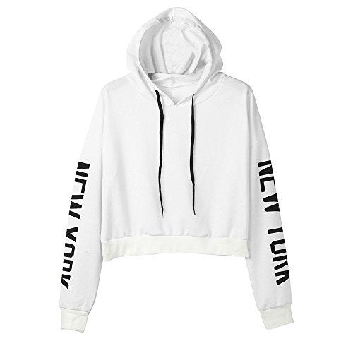 Ulanda Damen Frauen Teenager Mädchen Langarm Pulli Pullover Sweatshirt Crop Top Hoodies Langarmshirt Streetwear Herbst Winter Tops Bluse Kapuzen (Weiß, XS)