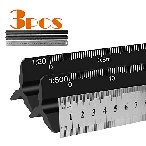Escala triangular de aluminio con escala triangular de 30 cm, escala 1:20:25:50:75:100:150, 1:100:200:250:300:400:500-3, color negro