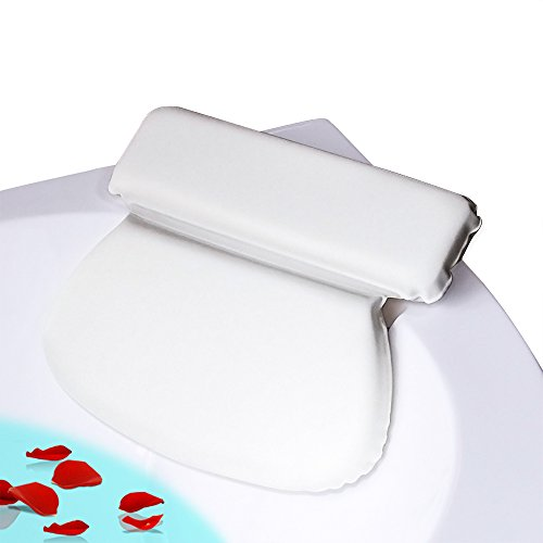 COCOCITY Badewannenkissen - weiches Badekissen (36cm x 31cm x 4cm) mit 7 Starke Saugnäpfen - Optimales Nackenkissen / Komfort Kopfkissen für Männer und Frauen SPA (Weiß)