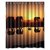Violetpos Afrikanischer Elefanten-Sonnenuntergang Duschvorhang Badezimmer Dekorative 180 x 200 cm