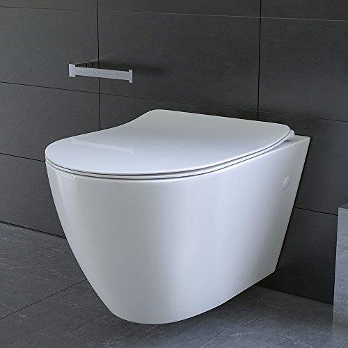 Keramik Wand WC Spülrandlos Hänge WC mit Nanobeschichtung Toilette WC-Sitz aus Duroplast mit Softclose Absenkautomatik passend zu GEBERIT Weiß WC - 4