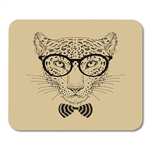 HOTNING Gaming Mauspads, Gaming Mouse Pad Animal Fashion Portrait of Leopard Hipster Isolated on Background Cat 11.8