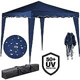 Deuba Pavillon Capri 3x3m | wasserdicht | Pop-Up | inkl. Tasche | UV-Schutz 50+ | Faltpavillon Gartenzelt Partyzelt | blau | Farbauswahl