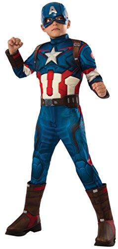ica Deluxe Kostüm für Kinder Avengers 2, Größe:M (Captain America 2 Outfit)