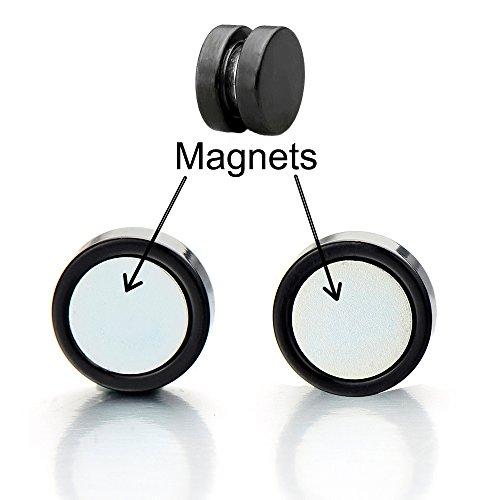 6MM-14MM Magnétiques Noir Cercle Fake Piercing - Boucles d'oreilles Homme Femm+E5es - Bouchon d'oreille Faux Cheater - Acier largeur: 6MM