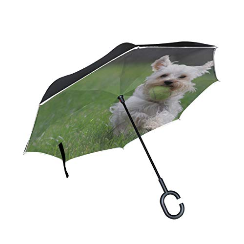 White Jumping Puppy Dog Doppelschicht Folding Anti Uv Schutz Winddicht Regen Gerade Autos Golf Reverse Inverted Umbrella Stand Mit C förmigen Griff -