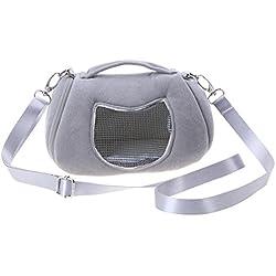 Bolsa de hombro para transportar hámster, cómoda malla transpirable + material de forro polar, 17 x 12 x 11 cm, color rosa y gris, de NELNISSA