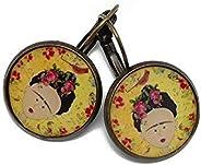 Pendientes sakura resina Frida Kahlo pájaro amarillo rojo verde negro latón bronce perla regalos personalizado