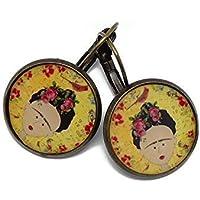 Pendientes sakura resina Frida Kahlo pájaro amarillo rojo verde negro latón bronce perla regalos personalizados Navidad ceremonia boda aniversario invitados día de la madre parejas