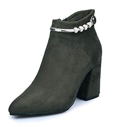 DEED Ladies 'Boots Wildleder Nieten wies Reißverschlüsse Arbeitsschuhe,38 EU,Grün