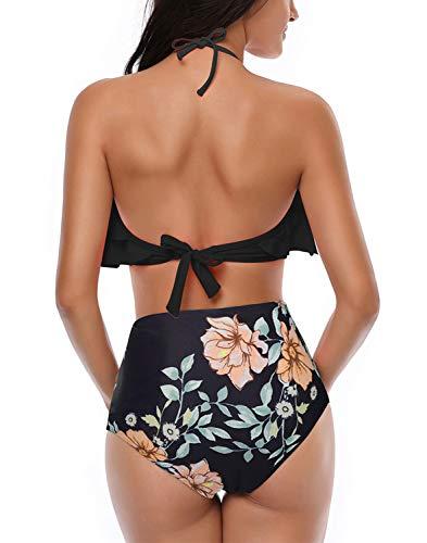 Damen Bikini Set Retro Volant Hohe Taille Bademode Badeanzug Neckholder Zweiteilige Strandkleidung für Frauen Schwarz S - 3