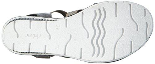 Rieker 68550, Sandales Bout ouvert femme Gris (Grey / 40)