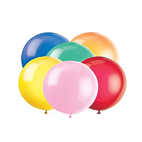 Unique Party - 56732 - Paquet de 6 Ballons Géants - Latex - 90 cm - Coloris Aléatoire