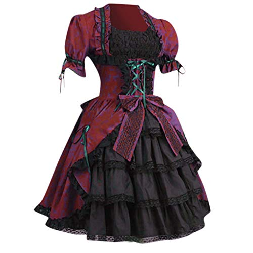 Mitlfuny Halloween coustems Kürbis Hexe Cosplay Gast Ghost Schicke Party Halloween deko,Mode Frauen Vintage Gothic Court Square Kragen Patchwork Bow Kleid (Square Hose Kostüm)