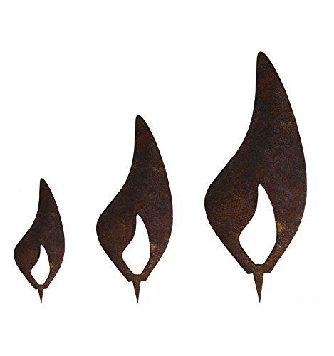 Metallmichl Edelrost Flamme 3er Set – Rost Flammen je 1 x 10 cm, 1 x 15 cm, 1 x 20 cm Metallflammen