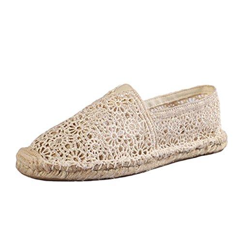 Dooxii Mujer Ocasionales Antideslizante Loafer Zapatos Moda Cordón Planos Alpargatas Amarillo 3623cm...