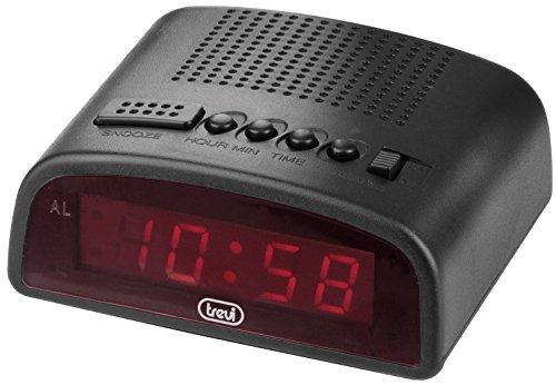 Trevi 875 - Reloj despertador digital compacto con enchufe para conexión a 220V - Color negro