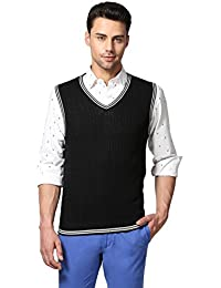 Goat Solid V-Neck Sleeveless Cable Sweater