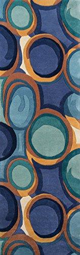 Momeni Rugs NEWWANW133BLU2680 Teppich, New Wave Collection, 100% Wolle, handgeschnitzt und getuftet, modern, ca. 60 x 20 cm, Blau Modern 2'6