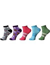 Khi Women's Geometric Print Ankle Length Socks (Pack Of 5) (KhiSonia_Multicolor)