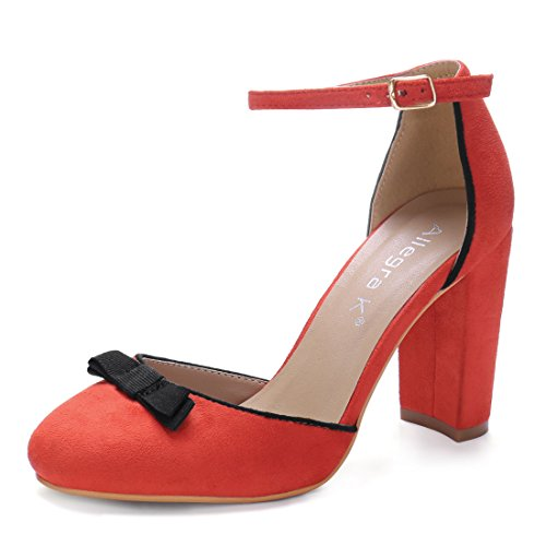Allegra K Damen runder Kopf Schleife Dekoration hohe Absätze Knöchel-Riemen Pumps, Orange Rot/EU 38