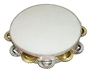 Tambourin Ø25 cm, galicien, double, hochet en fer-blanc/laiton