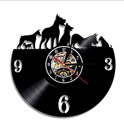 latte Wanduhr Dekoration Lp Tier Longplay Phonograph Kreative Uhr Handgefertigte Geschenke Für Hundeliebhaber Raumdekoration ()