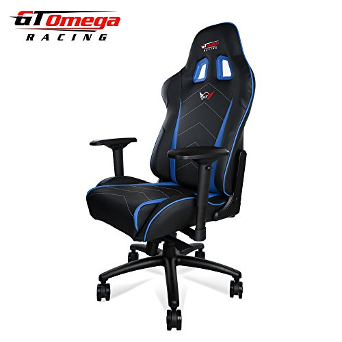 GT Omega PRO XL Racing Office Chair Black and Blue Leather Esport Gaming seat on Line