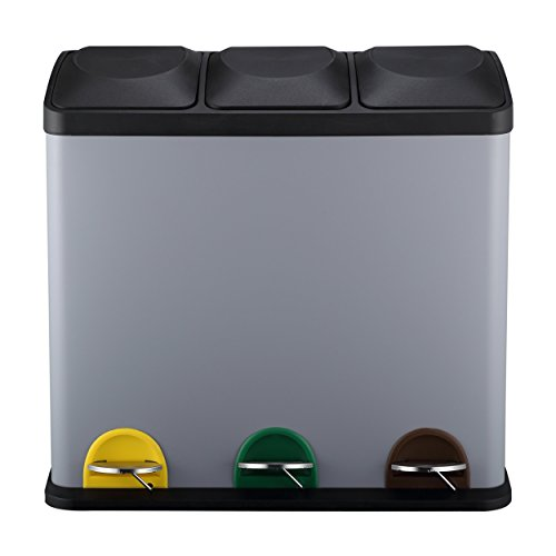 Mari home grande cestino spazzatura   cestino per rifiuti triplo   contenitore con 3 scomparti 54l (18l x 3)   ottimo per cucina, ufficio e casa   cestino per la spazzatura con pedali   opaco grigio