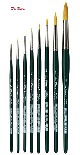 (Da Vinci 1570 Serie - hochwertiges Aquarell-Pinsel-8er Set NOVA-Synthetik no.10/0, 5/0, 3/0, 2/0, 0,2,6, 12.)