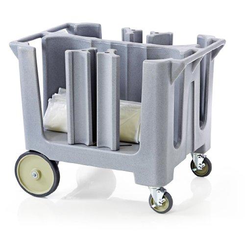 Tellerwagen Abräumwagen für ca. 240 Teller auf Rollen Kunststoff Grau inklusive Abdeckhülle 72 x 97 x 80 cm