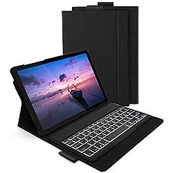 Jelly Comb Clavier Bluetooth avec Étui de Protection Clavier Rétroéclairé AZERTY Rechargeable avec 7 Couleurs Éclairage pour Tablette Samsung Tab S5E - Noir