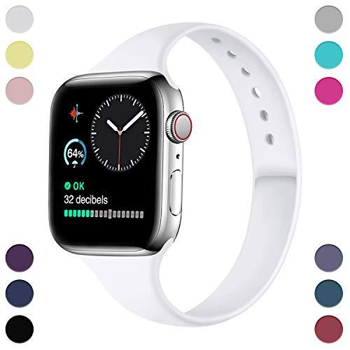 Hamile Armband Kompatibel für Apple Watch 38mm 40mm, Schmales Weiche Silikon Wasserdicht Ersatz Uhrenarmbänder für Apple Watch Series 5, Series 4, Series 3, Series 2, Series 1, Weiße