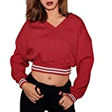 Xiangdanful Damen Hoodie Sweatshirt Pullover Bare Midriff Langarmshirt V Ausschnitt Einfarbig Einfaches T-Shirt Lässiger Causal Kurz Oberteie Crop Tops Blouse Tuniken Sexy Pulli (M, Rot)