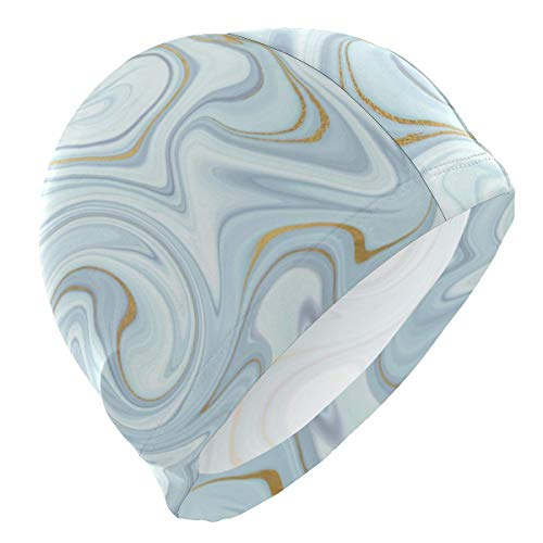 Gebrb cuffie da nuoto,cuffie da bagno,cuffia piscina swim cap abstract marble texture swimming cap for men boys adult teen swimming hat no-slip