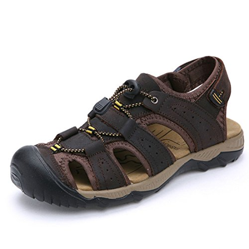 Men's Genuine Leather Hook Loop Zapatos Outdoor Sandals LA2028M dark brown