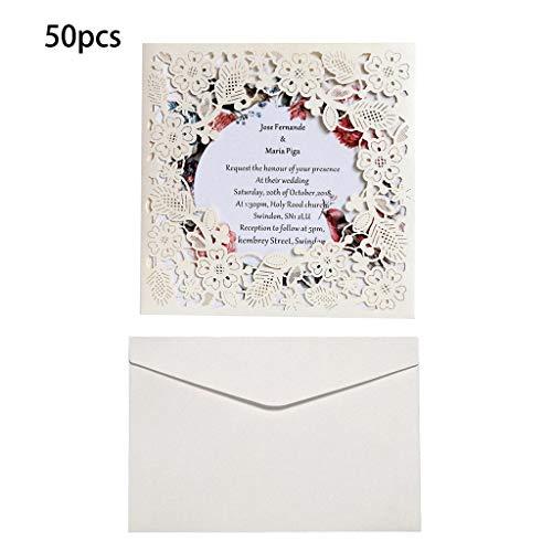 Lazder 50 Hochzeitseinladungskarten mit Umschlägen, Geburtstagskarte, Hochzeit, Dekoration, Partyzubehör