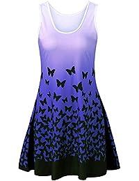 BaZhaHei Vestidos de Mujer Falda Vestido de Fiesta sin Mangas con Estampado  de Mariposa para Mujer 2e9272eead7c