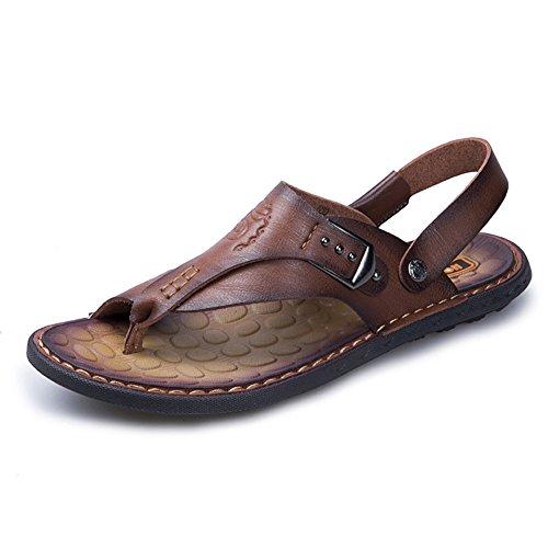 CLASSIC PINK Hombres Sandalias Chanclas de Cuero Verano Punta Descubierta Playa Piscina Zapatos