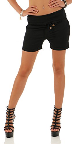 Damen Hotpants Shorts Kurze Hose Chino Bermuda Pants in Angesagten Farben (554), Grösse:36 S, Farbe:Schwarz