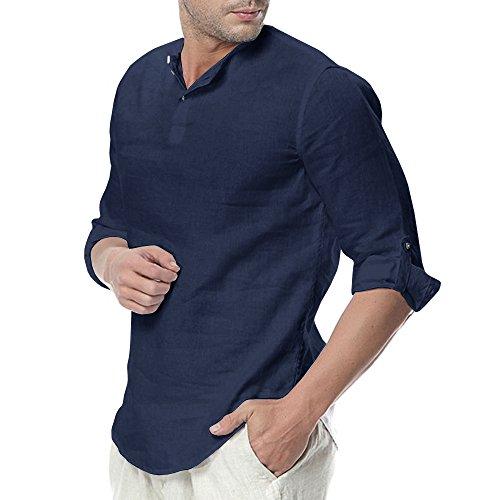 Gemijacka Herren Leinenhemd Henley Freizeithemd Sommer Langarm Leicht Kragenloses Hemd