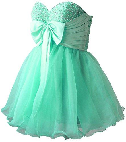 Vantexi Damen Kurz Cocktailkleider Formal Abendkleid Heimkehrkleid Grün