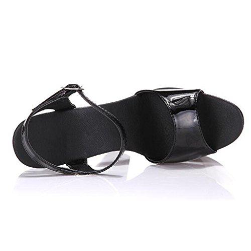 W&LMsandali Piattaforma impermeabile Le scarpe dimostrano il modello Sandali da donna Sandali da lavoro Sandali all'aperto Sandali da banchetto Tacchi alti 19CM Black