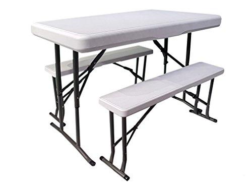 osoltus Mini Bierzeltgarnitur Tisch + 2 Sitzbänke Campingtisch Kofferraum klappbar