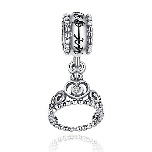 Charm in stile corona da principessa in argento sterling 925con cz pandora, compatibile con braccialetti europei